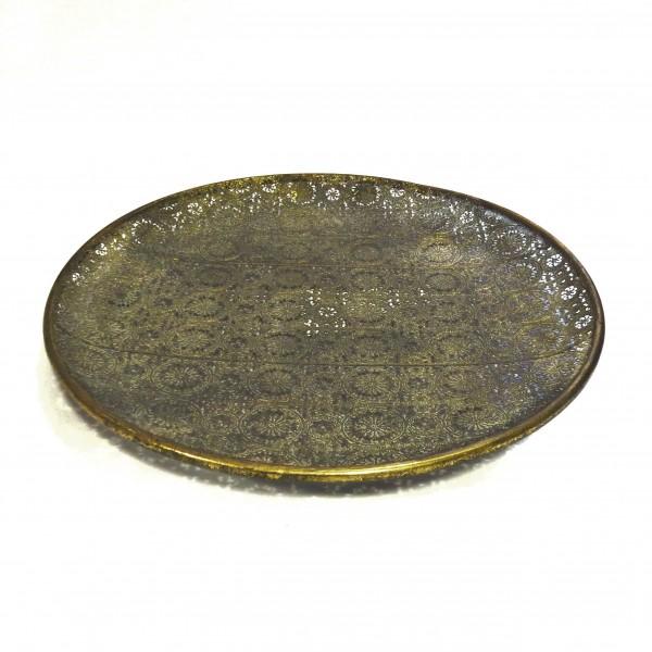 Schale Teller Rund Metall Tablett Antik Gold Bronze Deko Naturals Collections 40 x 40 x 3 cm