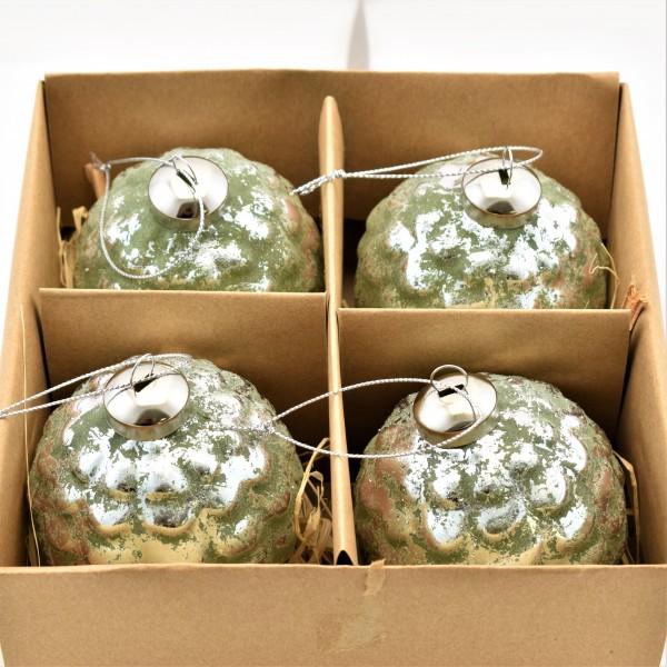 Christbaumkugeln Weihnachtsbaumschmuck Glas grün silber Clayre & Eef 8 cm