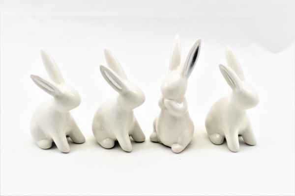 4 Osterhasen Ostern Hasen Dekohasen Osterdeko Keramik weiß silber 9,5 cm