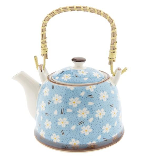 Teekanne Kanne Retro Blau Clayre & Eef Blumenmuster Keramik 14 x 14 cm 0,7 Liter