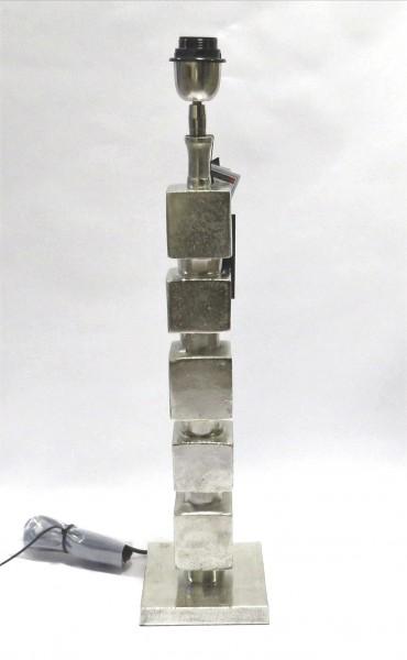 Lampe Lampenfuß XL Modern Silber Metall Quadratisch Colmore 62 cm