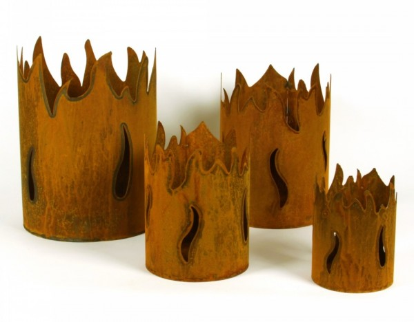 Windlicht Feuerkorb Flammen Garten Deko Rost Metall 20x14 cm Modern Scheulen