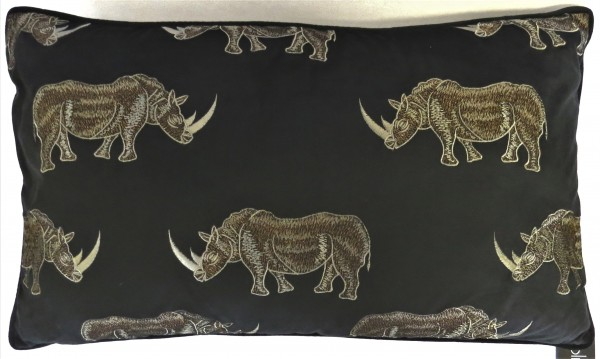Kissen Deko Zier Sofa Schwarz Samt Nashorn Bronze Modern Safari Colmore 60x35 cm