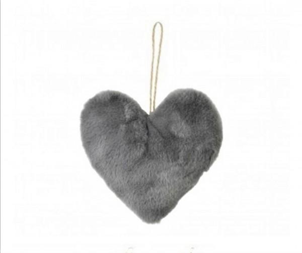 Herz Hänger Deko Fell Grau Anhänger Weihnachten Liebe Mars & More 15 cm