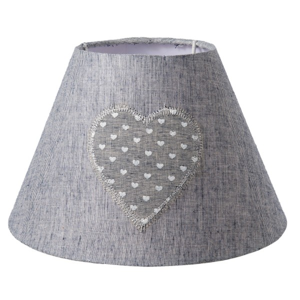 Lampenschirm grau Herz 22 x 14 cm Clayre & Eef 6LAK0402 E27