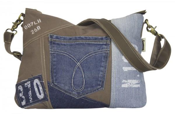 Tasche Umhängetasche Damen Schultertasche Jeans Vintage Handtasche
