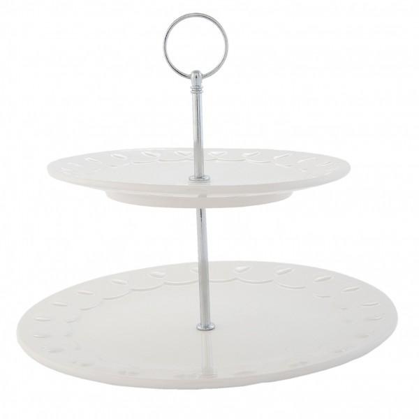 Clayre & Eef Etagere Kuchenständer Kuchenplatte weiß Keramik ROLET 26 x 23 cm