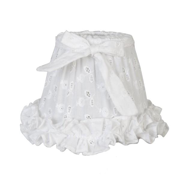 Clayre & Eef Klemmschirm Lampenschirm zum aufstecken weiß Baumwolle Stickerei 15*12 cm E27 6LAK0043