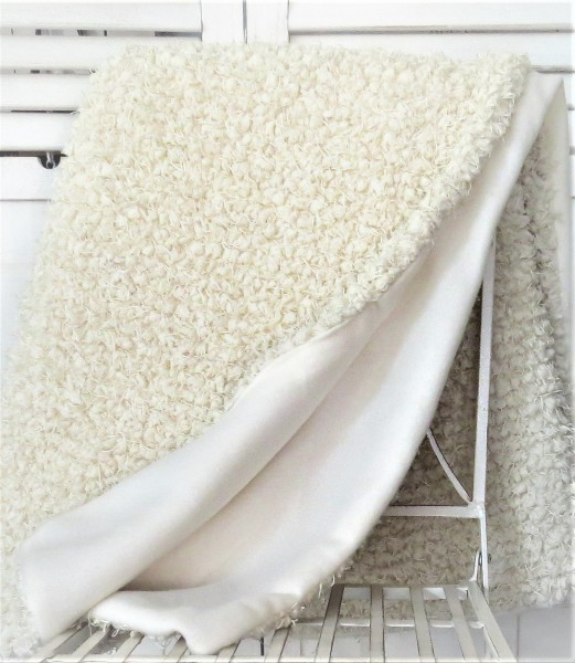 Decke Sofadecke Kuscheldecke Vlies cremeweiß 130 x 160 cm