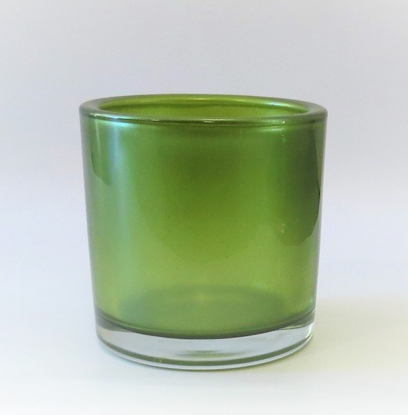 Teelicht grün metallic Glas rund 10 cm