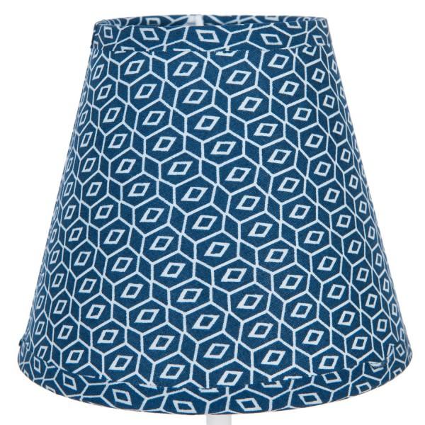 Lampenschirm Blau Retro Muster Tisch XS 12x14 cm Clayre & Eef E27 6LAK0365