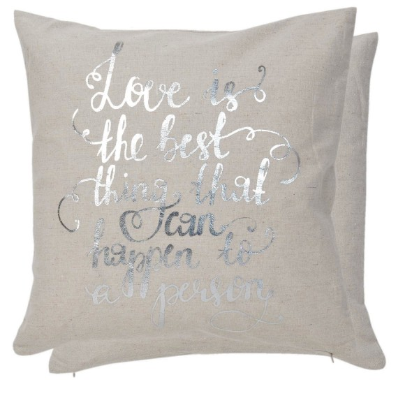 Kissenhülle Kissenbezug Texturiert Beige Silber Love 40 x 40 cm Clayre & Eef