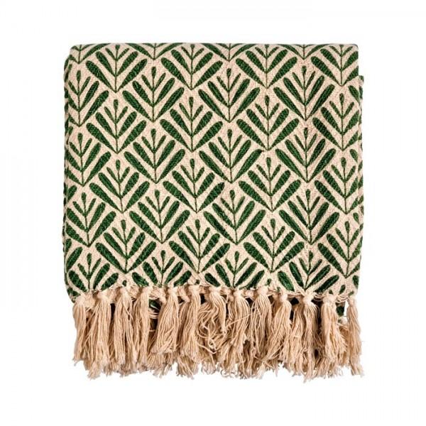 Decke Wohn Überwurf Sommer Beige Grün Baumwolle Franzen Linen & More