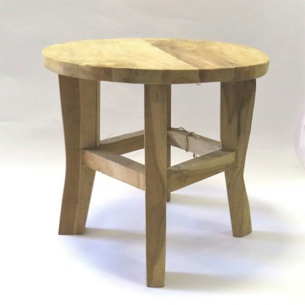 Tisch Beistell Hocker Sofa Holz Natur Hell Rund H & B natural living 36 cm