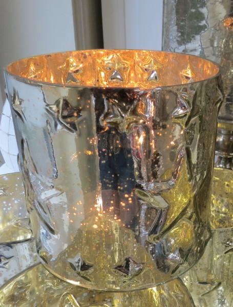 Windlicht Riviera Maison Teelicht Weihnachten Silver Star Silverglass Hurricane 15 x 15 cm