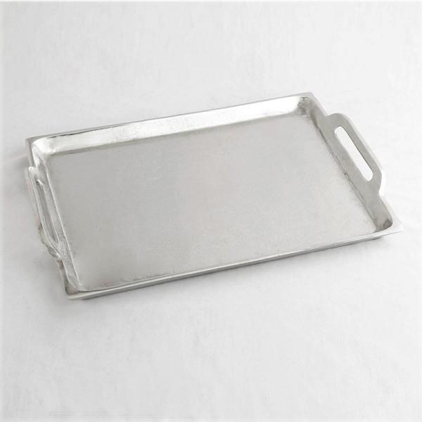 Tablett Schale Kerzen Deko Silber Metall Modern XL Hazenkamp 40 x 29 cm