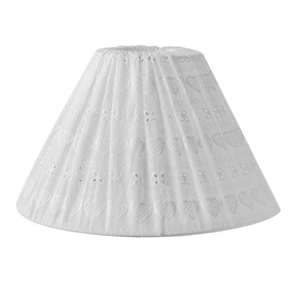 Clayre & Eef Lampenschirm 30*18 cm weiß Baumwolle E27 6LAK0381