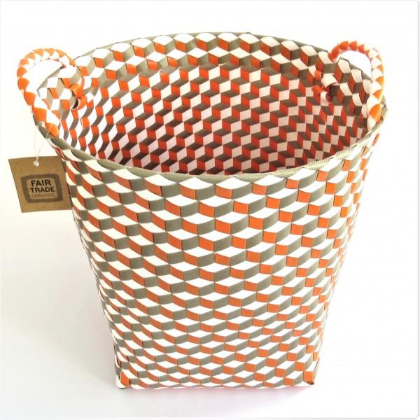 Korb Wäschekorb Dekokorb mit Henkel Bunt Hippie Orange 36 x 36 cm Fair Trade