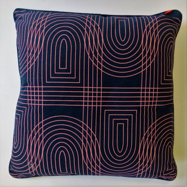 Dekokissen Kissen blau violett retro grid 45x45 cm