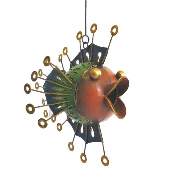 Teelicht Hänger Deko Fisch Metall Bunt Kugel Handarbeit Varios 20 cm
