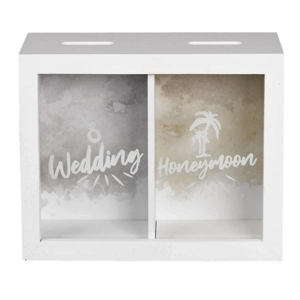 Spardose Sparbüchse Hochzeit Flitterwochen Lustig Geschenk Deko Clayre & Eef Weiß Holz