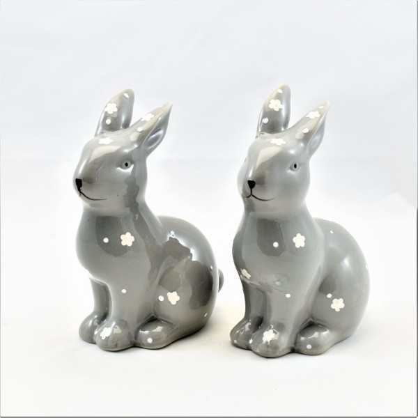 Osterhase Hase Ostern Deko Dekohasen Osterdeko 2er Set Keramik grau 15 cm