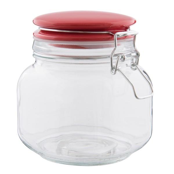 Vorratsglas Einweckglas Bonboniere Clayre Eef rot 13 x 11 x 13 cm 0,75L
