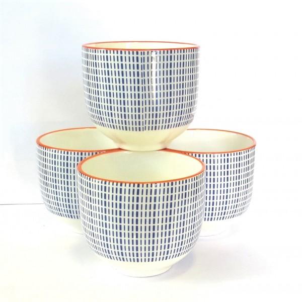 Dipschalen Servierschalen 4er Set Blau Orange Retro Design Porzellan
