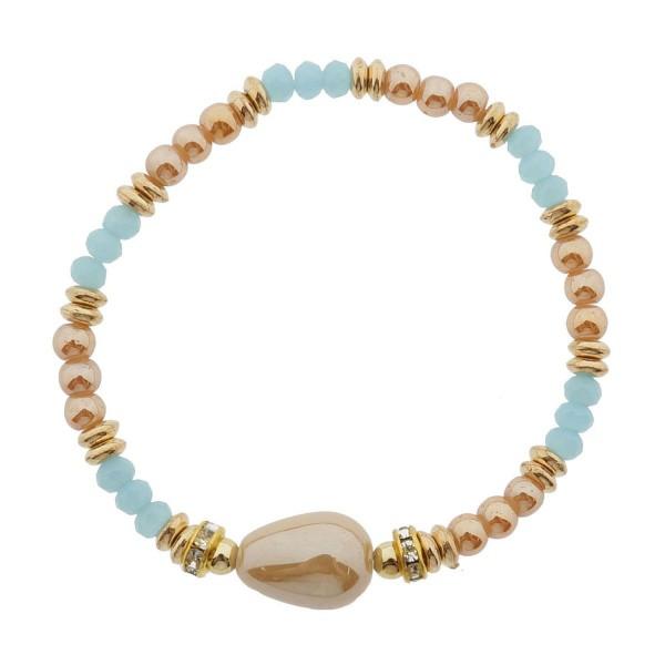 Armband Armreif Blau Gold Clayre & Eef Dehnbar Sommer