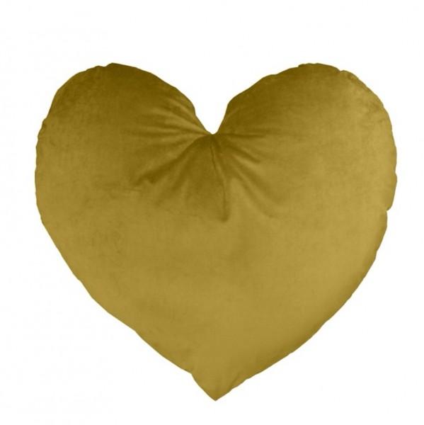 Deko Kissen Herz Gold Ocker Samt XL Zierkissen Van Baal 60 cm