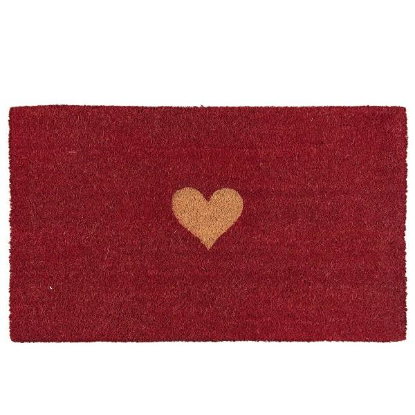 Fußmatte Türmatte Kokosmatte Fußabstreifer rot Herz 75x45x2 cm Clayre & Eef 6LAK0342 MC126 E27