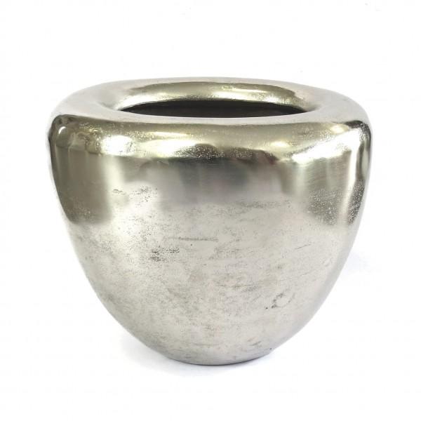 Vase Bodenvase Deko Oval Metall Silber Colmore Modern Matki