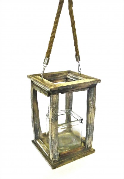 Laterne Windlicht Natürlich Holz Glas Natur Rustikal 25 cm