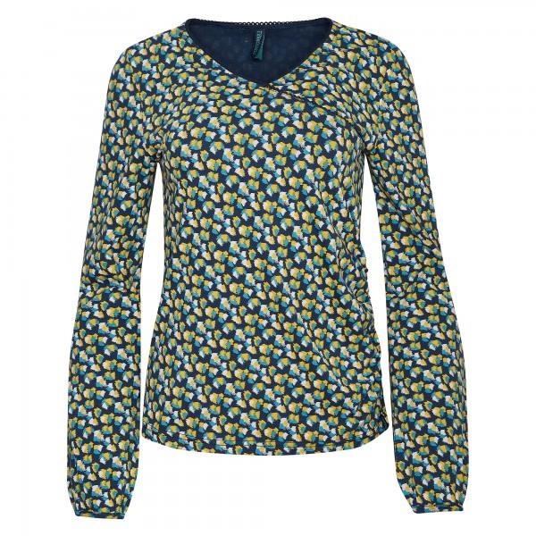 Shirt Langarm Jersey Bunt Retro Hippie Biobaumwolle Tranquillo Bunt V Ausschnitt XS 34
