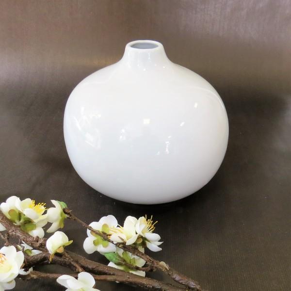 Vase Blumenvase rund weiß Keramik goround 18 cm