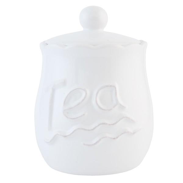 Teedose Clayre & Eef Vorratsgefäß Keramik weiß 1 Liter 12x17 cm 6CE0591