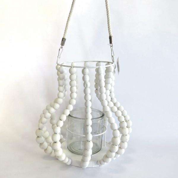 Laterne Windlicht Holz Glas Weiß Perlen 35 cm