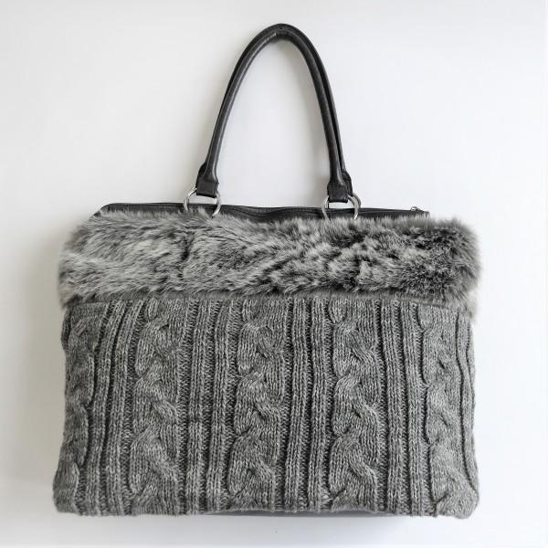 Tasche Felltasche Shopper Damenhandtasche Damentasche Kunstfell 50 x 40 cm grau