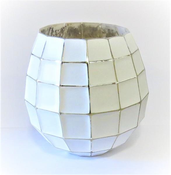 Teelichthalter Kerzenständer Windlicht Glas weiß silber Countryfield 17 x 16 cm