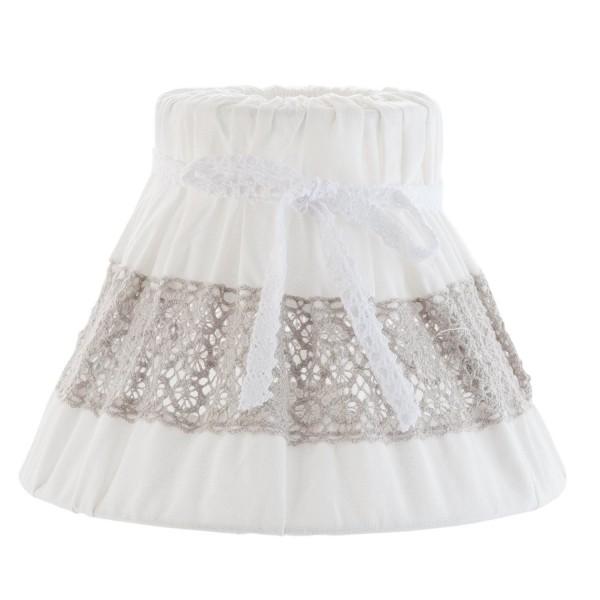 Lampenschirm weiß beige Spitze Clayre & Eef 20 x 15 cm 6LAK0337 Baumwolle