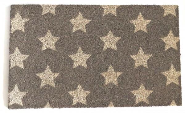 Fußmatte Taupe Sterne Kokos 75 x 45 cm Shabby Landhaus Beige Grau