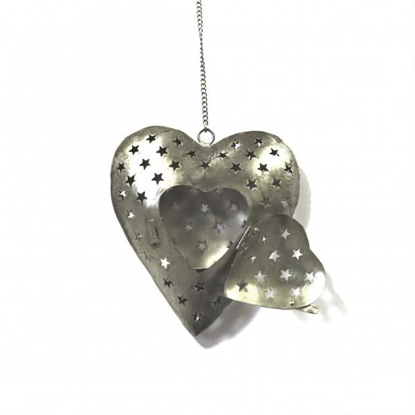 Teelichthalter Herz Hänger Metall Silber Exner 50 x 20 cm