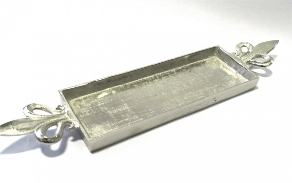 Schale Platte Deko Teller Rechteckig Lilie XL Griff Silber Metall Colmore 66 cm