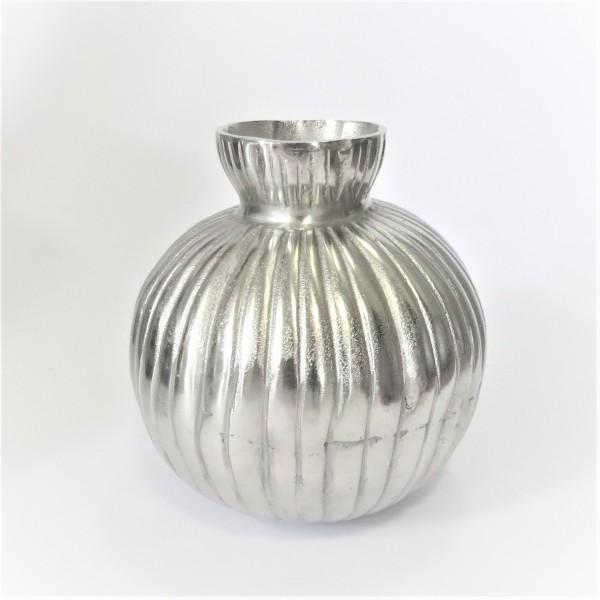 Vase Gefäß Deko Tisch Rund Silber Modern Metall Colmore 26 cm