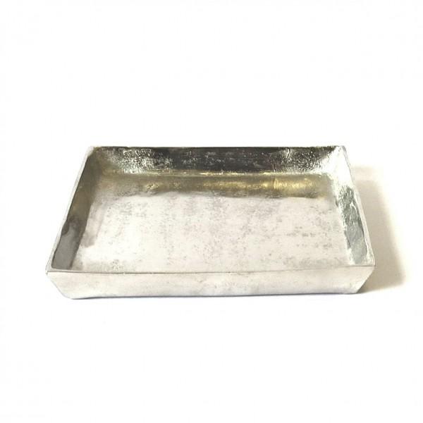 Schale Tablett Platte Kerzen Deko Silber Quadratisch Metall Modern Tischdeko Colmore 30x30x4 cm