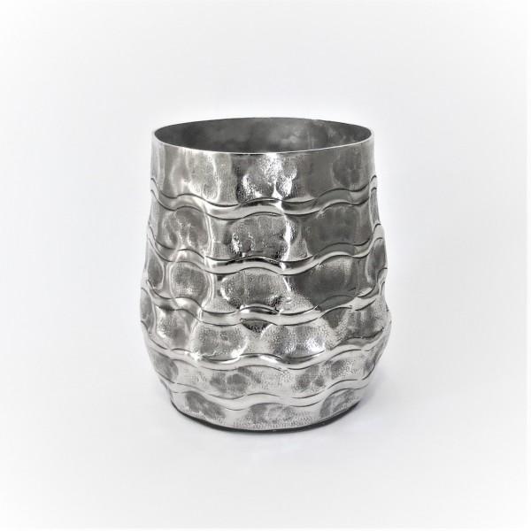 Vase Tisch Gefäß Übertopf Topf Silber Colmore Industrie Style 22 cm