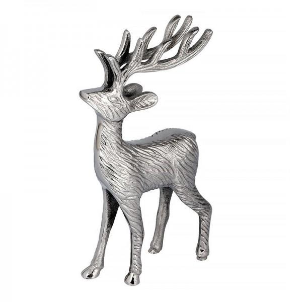 Metallhirsch Deko Standfigur Silber Hazenkamp Weihnachten 18 x 30 cm