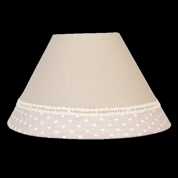 Lampenschirm Clayre & Eef braun beige Herzen Baumwolle 30 x 17 cm E27 6LAK0246