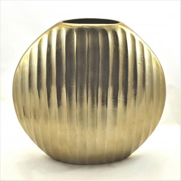 Bodenvase Vase Bronze Gold Rund Metall Gerippt Colmore 36 x 13 x 35 cm