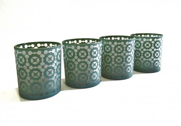 Teelicht 4er Set Grün Muster Colmore Tisch Glas Retro Deko 7 x 8 cm